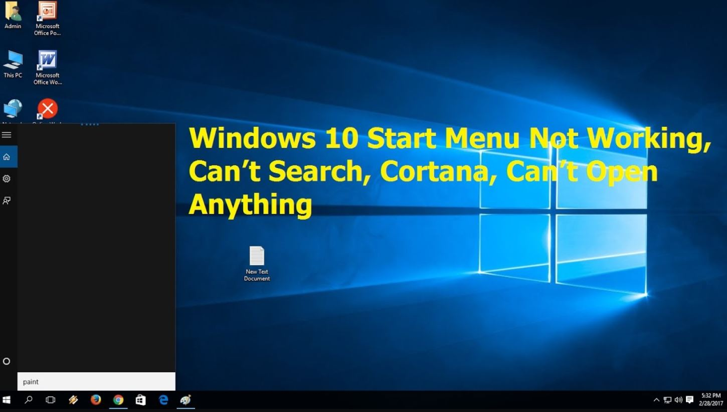 Windows 10 Start Menu Search Not Working